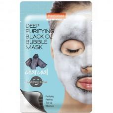 Purederm Deep Purifying Black O2 Bubble Mask Charcoal Кислородная тканевая маска с углем