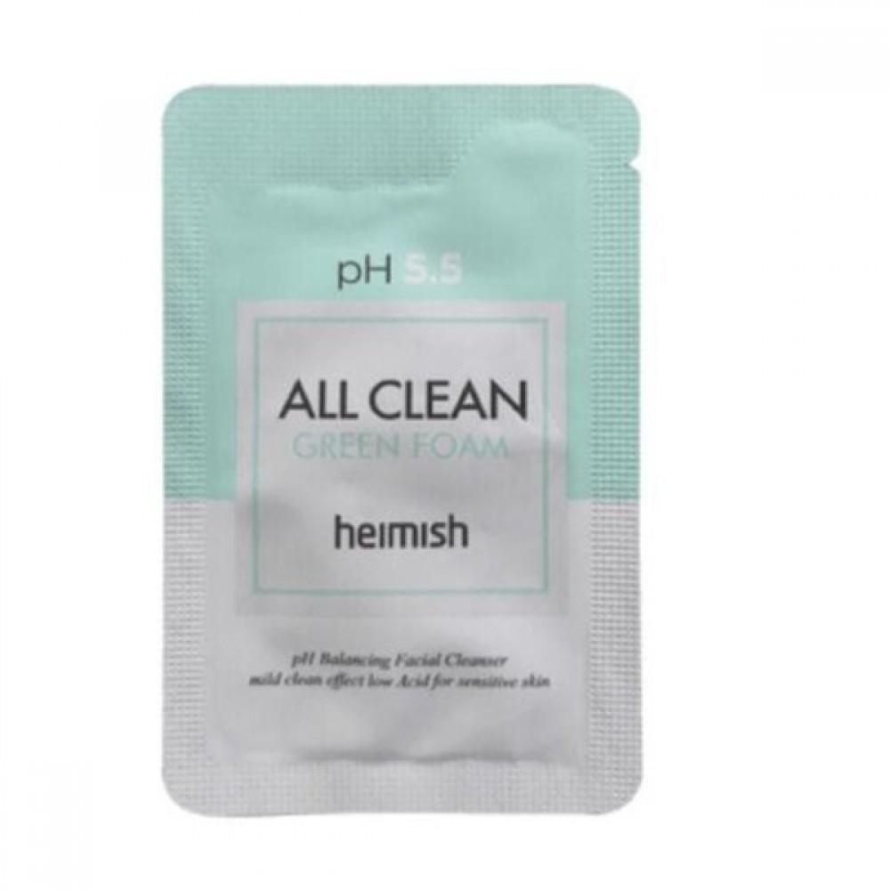 Heimish All Clean Green Foam pH 5.5 Sample Очищающая пенка для умывания с экстрактом мыльного дерева. Пробник 1 мл.